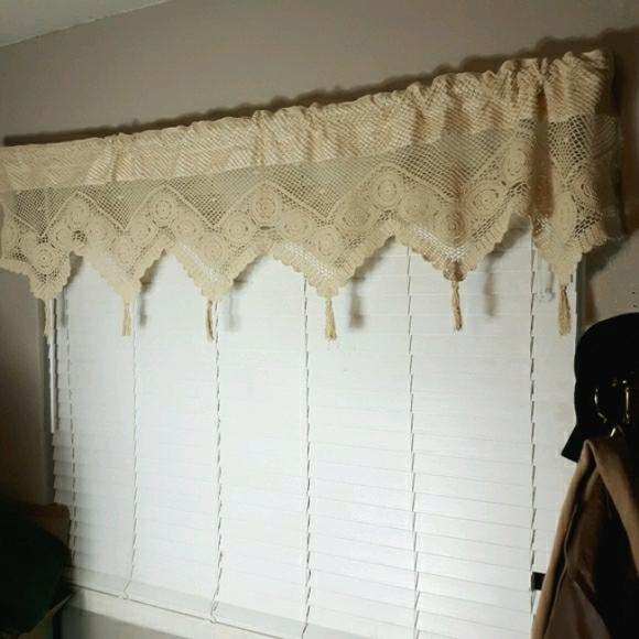 Handmade crochet tassel curtain valance